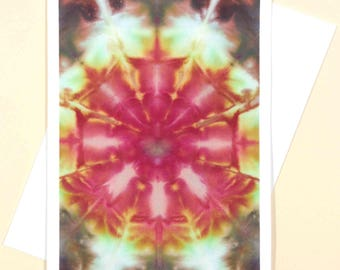Greeting Card Blank Hand Dyed Fabric Colorful Kaleidoscope OOAK Abstract Bloom Red Green Orange Gold Amber Pink Heart Colorful Brown