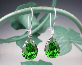 SUMMER SALE Fern Green Rhinestone Earrings Wedding Jewelry Bridesmaid Earrings Swarovski Emerald Green