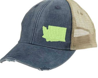 Washington  Hat - Distressed Snapback Trucker Hat - off-center state pride hat - Pick your colors