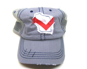 Clearance - Sale - Gift - Gracie Designs Hat - Chevron Wisconsin on Gray DIstressed Trucker