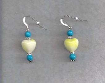 Yellow Heart Drop Earrings
