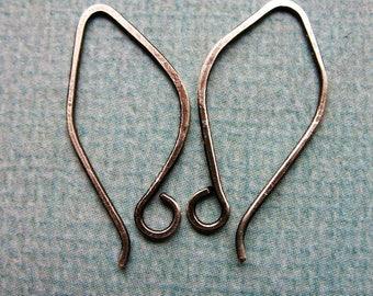 Antiqued Hammered Sterling Silver Leaf Ear Wires - 1 pair - 25mm