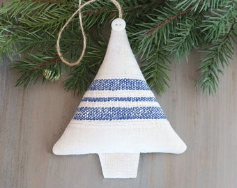 Lavender Sachet Christmas Tree, Grain Sack Stripe Tree Ornament, Rustic Christmas Decor