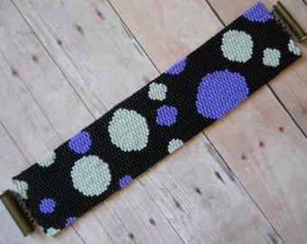 Pattern: 2-Drop Even Count Peyote Stitch Bracelet, Polka Dots, Instant Download