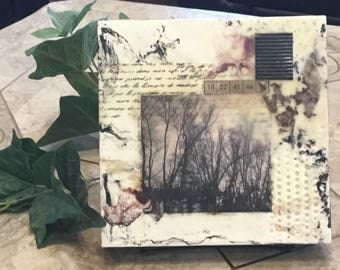 Encaustic painting, beeswax art, beeswax collage, small painting, mixed media art