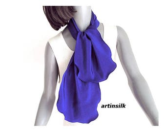 Ultramarine Silk Scarf  Deep Blue, Small Silk Neck Scarf, Blue Scarflette, Indigo Crepe Pure silk, Azul Anil Blue, Natural Silk, Artinsilk