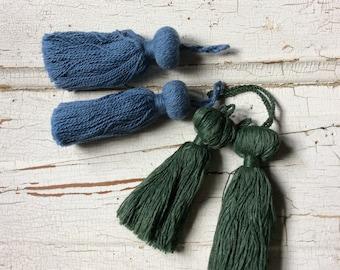 tassel lot,tassels,destash,new old stock, green,blue,mix match tassel lot of 4,embellishing,trimming
