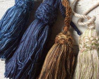 tassel lot,muti-colored tassels,destash,new old stock, green,blue,brown,mix match tassel lot of 4,embellishing,trimming