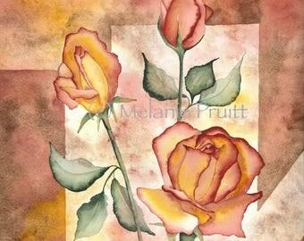 Rose Original 12x16 Watercolor  floral geometric earth tones roses painting by Melanie Pruitt EBSQ