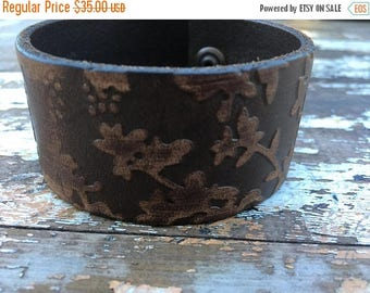 40% OFF- Embossed Leather Cuff-Create Your Own-Floral Leather-Word Cuff