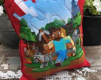 40% OFF- Minecraft Throw Pillow--Upcycled Eco Friendly-Quilted