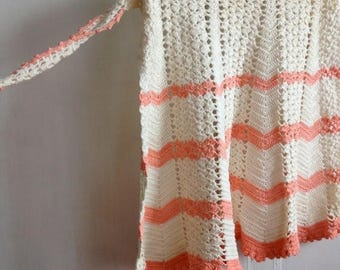 CRAZY SALE- Vintage Half Apron-Crocheted-Peaches and Cream