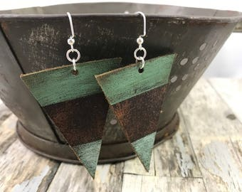 Painted Leather Earrings--Triangles-Boho Earrings-Mini Canvas-Blue and Green