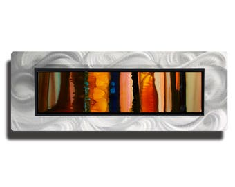 Orange Abstract Metal Wall Painting, Contemporary Wall Accent, Modern Metal Wall Art, One of a Kind Home Decor - JC 517A by Jon Allen