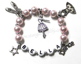Gift for a ballet dancer Dance charm bracelet Dance recital Gift Personalized Name Bracelet Pink Pearl bracelet Gift for a ballerina dancer