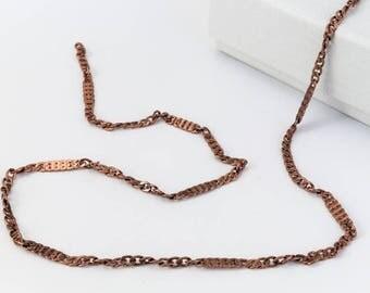 Antique Copper 2.3mm Squashed Curb Chain #CC113