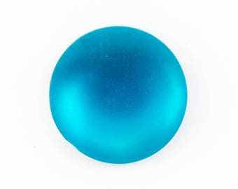 20mm Round Frosted Aqua Cabochon #UP699