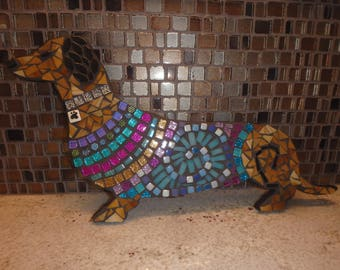 CUSTOM Dachshund Wiener Dogs Handmade Mosaic Art DOXIE