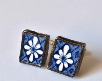SUMMER SALE Broken China Cuff Links - Blue and White