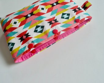 Aztec Pouch - Snap Pouch - Pencil Pouch - Pink Aqua Pouch - Art Supplies Pouch - Make up Pouch - Bridesmaid Pouch - Teacher Gift - Girl Gift