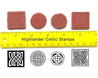 Celtic Knot Unmounted Rubber Stamp Cube Set Four Celtic Knots Round and Square #USS18