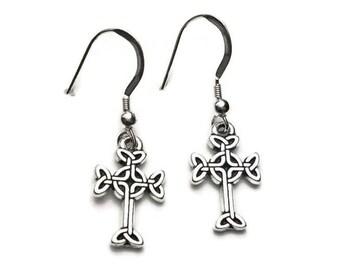 Celtic Cross Dangle Earrings Fine Silver Plated Pewter Sterling Silver Earwires
