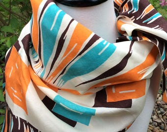 Vintage floral silk scarf orange-brown-aqua