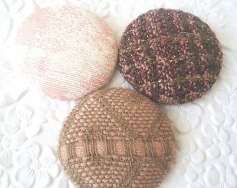 CLEARANCE - Brown buttons, pink buttons, fabric buttons, embroidered button, size 60 buttons, set of 3 buttons