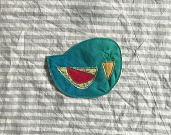 Perky Bird Patch, Appliquéd Embroidered Badge, Blue Green Ombre