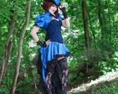 Blue Steampunk Costume| Bella Blue | Corset Costume, Sexy Adult Costume, Dark Circus Costume, Lady Tuxedo Dress, Miniskirt Outfit