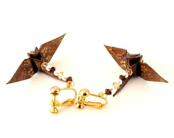 Clip On Earrings, Chocolate Brown Origami Cranes with Gold Cherry Blossoms Jewelry