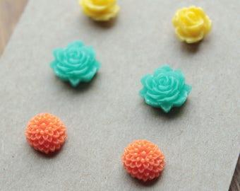 Post Earrings - 3 pairs - Plastic - Surgical Steel - Yellow, Teal, Orange
