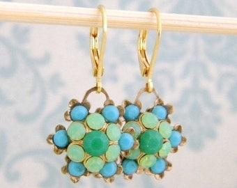 SALE Seafoam Emerald Turquoise Rhinestone Flower Drop  Earrings