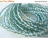 25% OFF Sale 4mm Czech Beads - Prairie Grass Silver Lined Firepolished Faceted 50 pcs (G - 5)