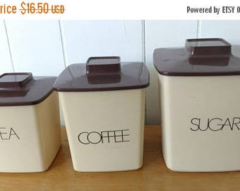 CLEARANCE vintage plastic tan brown canister set
