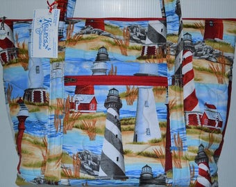 Quilted Fabric Tote Bag with Beautiful Lighthouses