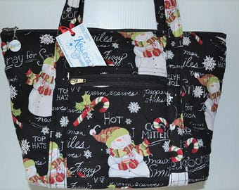Quilted Fabric Handbag Purse Black with Adorable Snowmen