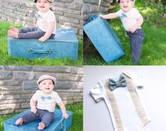 Bow tie suspenders onesie or Tshirt... vintage style look... cream suspenders sewn on with dusty aqua removable bow tie -- boys clothing..