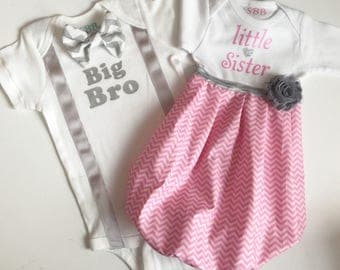 Big Brother little sister outfits... Sibling set... New baby.. pink and grey