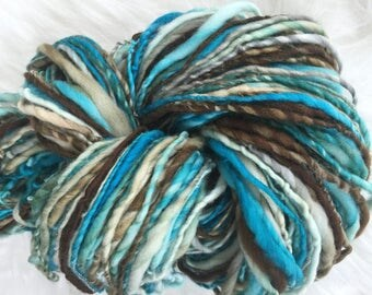 Yarn Handspun - Mediterranean Breeze- superwash wool, crochet, knit, weaving, craft supplies, doll hair, supplies 140yds.