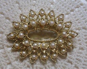 Vintage Seed Pearl Oval Brooch . Gold Tone