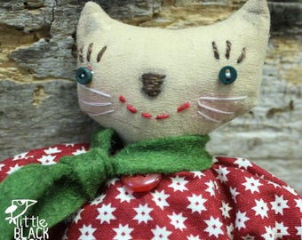 Cloth Doll, Cat, Gift For Cat Lover, Prim Style, Judy