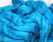 Recycled Carded Sari Silk Fibres - Turquoise 50g