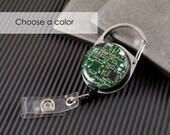 Recycled Circuit Board Retractable Badge Holder, Badge Reel, Geeky Office Gift, Engineer Gift, Computer Gift, Office Gift, Motherboard GIft