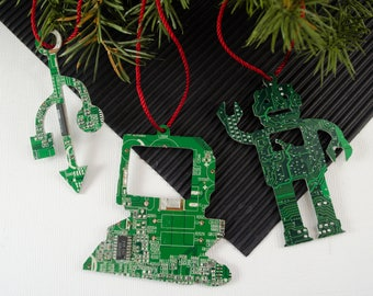 Circuit Board Ornament Set, Computer Ornaments, Computer Programmer, Software Engineer, Computer Science Gift, Christmas Ornament, Techie