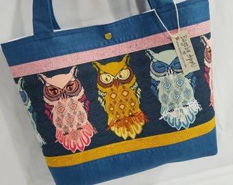 Owl bird feathers fabric handbag purse tote bag