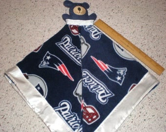 New England Patriots Fleece Teddy Bear Baby Security Blanket Trimmed with Satin