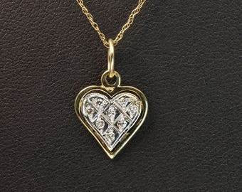 Vintage! 14K Two Toned Gold and Diamond Heart Shaped Tiny Pendant