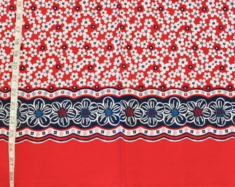 Red and White Flower Cotton Fabric