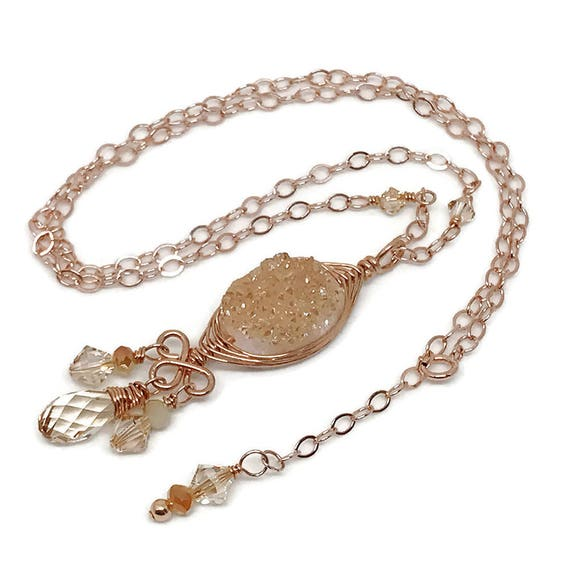 Champagne Druzy Necklace, Goddess Collection, Rose Gold Filled, Wire Wrapped, Druzy Quartz, Gemstone Beads, Swarovski, Crystal, Chain